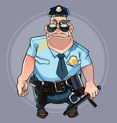 cartoon formidable big man in a police uniform vector image