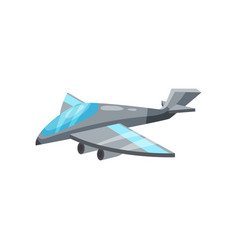 Cartoon icon of gray military jet plane aircraft vector