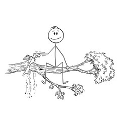Cartoon man or businessman cutting tree vector
