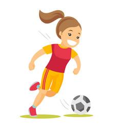 caucasian white soccer player kicking the ball vector image