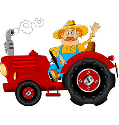 Cheerful tractor driver vector