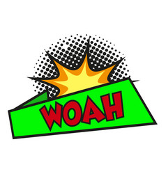 Comic lettering woah on white background vector