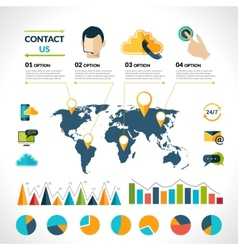 Contact us infographics set vector image vector image
