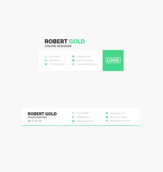 Corporate email signature design clean green vector