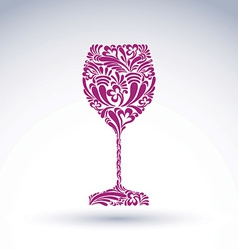 Creative goblet with floral ethnic tracery vector image