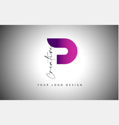 Creative letter p logo with purple gradient and vector
