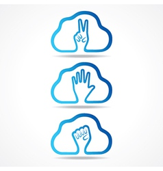 creative victorhelp and unity hand icon design vector image