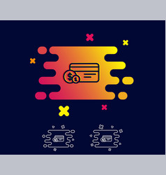Credit card line icon payment card with coins vector