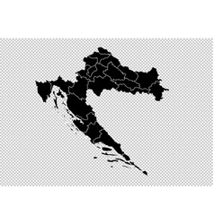 Croatia map - high detailed black map with vector