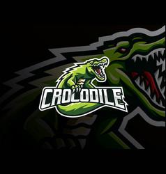 Crocodile mascot sport logo design vector