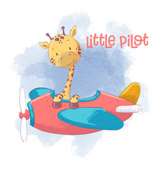 Cute cartoon giraffe on an airplane vector