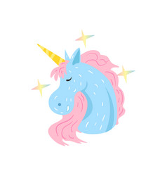 cute magic unicorn character sleeping and dreaming vector image