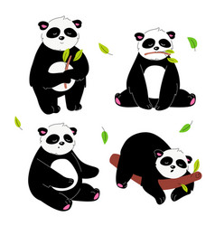 Cute panda - flat design style set characters vector