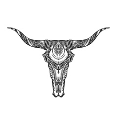 Decorative Indian bull skull Hand drawn vector