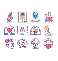 Disease diagnostics color linear icons set vector