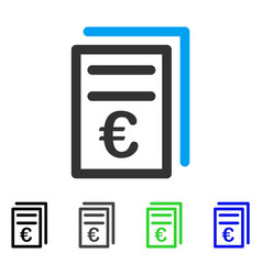 Euro invoices flat icon vector