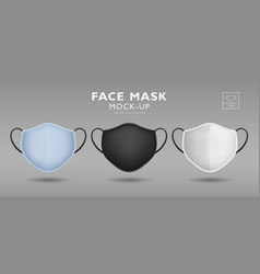 face mask fabric blue black white color mock up vector image