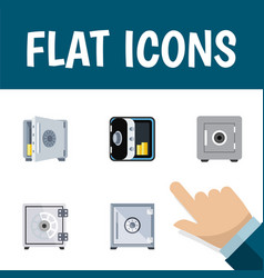 Flat icon closed set of locked coins strongbox vector