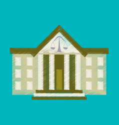Flat shading style icon courthouse vector
