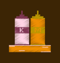 Flat shading style icon pixel ketchup and mustard vector