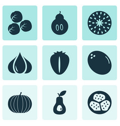 Fruit icons set with berry kiwano duchess and vector