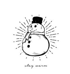 funny cartoon snowman isolated on white background vector image