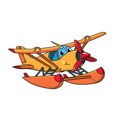 Funny hydroplane with eyes airplane vector