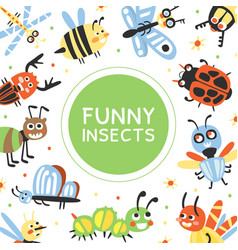 funny insects banner template cover poster vector image