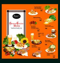 German cuisine menu with traditional healthy food vector