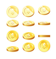 golden coins set in rotation stages - flying vector image