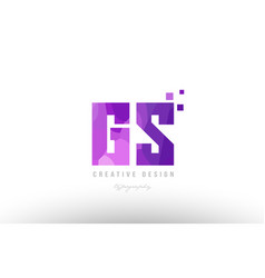 Gs g s pink alphabet letter logo combination with vector