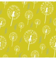 hand drawn pattern dandelion on a yellow vector image