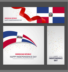Happy dominican republic independence day banner vector