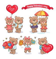 Happy valentines day teddy bears couples in love vector
