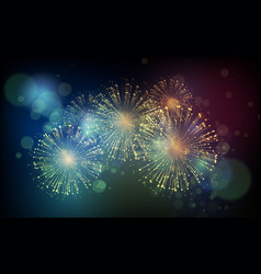 holiday fireworks background happy new vector image