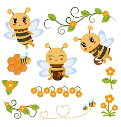 Honey bee theme characters and icons vector