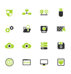hosting provider color icon set vector image