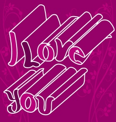 i love you with flowers 2 vector image