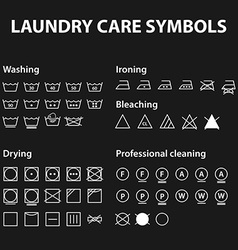 Icon set of laundry symbols Washing instruction vector