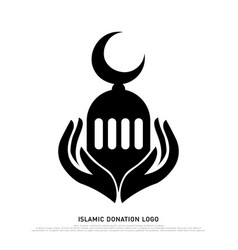 islamic donation logo black and white icon vector image