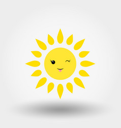 Kawaii sun winking icon flat vector