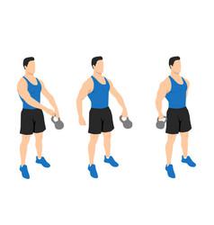 Kettlebell around worlds exercise vector