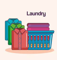 Laundry service clean pile cloth basket shirts vector