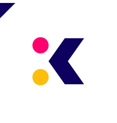 Letter k logo arrow with two dots icon design vector