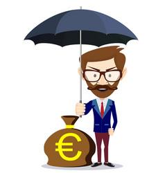 man with beard standing holding umbrella vector image