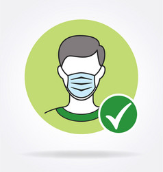 man with facemask and green tick checkmark covid19 vector image