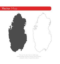 Map qatar isolated black on vector