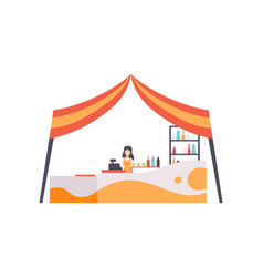 Market food counter with seller street trading vector