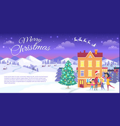 Merry christmas on city and blue sky background vector