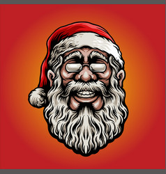 merry christmas santa claus mascot with glasess vector image